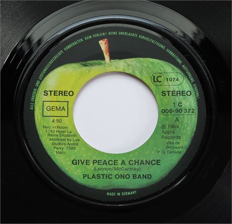 Plastic Ono Band - Give Peace A Chance - GERMAN 1969 1st Press Apple 45 EX+