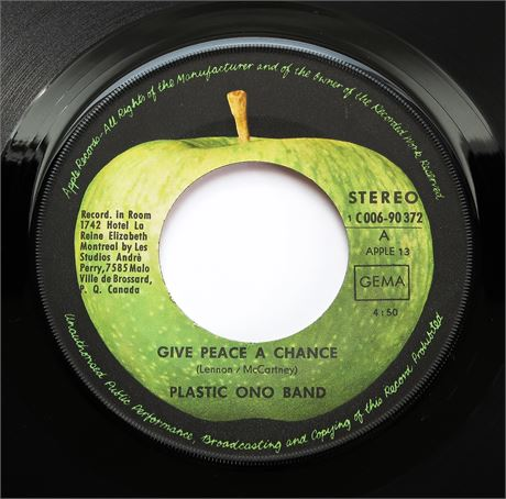 Plastic Ono Band - Give Peace A Chance - GERMAN 1969 1st Press 45 p/s