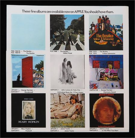 Apple Records 1969 Promo Insert/Poster - Beatles/Lennon/Lomax/Hopkin etc.
