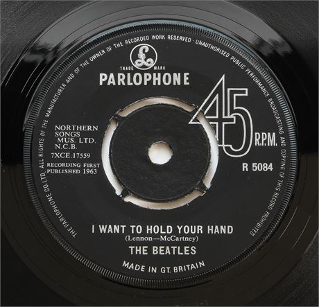 Beatles - I Want To Hold Your Hand - UK 1963 Contract Press Parlophone 45 NM