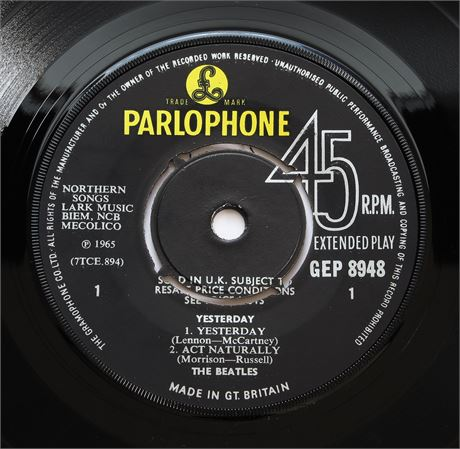 The Beatles - Yesterday - UK 1966 1st Press Parlophone EP NM