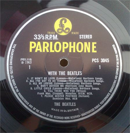 """ WITH THE BEATLES "" UK VERY RARE FINAL 60'S STEREO NO SOLD IN UK TEXT"