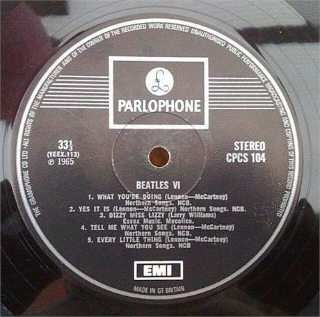 """ BEATLES VI "" SUPER UK MONSTER RARE 1 BOX EMI EXPORT CPCS LP"