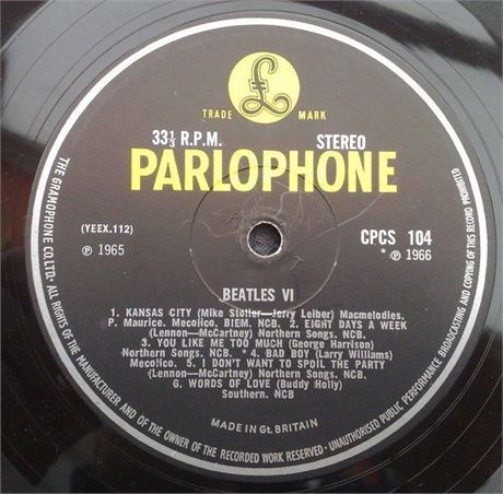 """ BEATLES  VI "" SUPER UK MONSTER RARE ORIGINAL EXPORT CPCS LP 1G 1A"