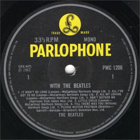 THE BEATLES – WITH THE BEATLES – 1981 Y/B MONO